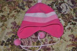яркая флисовая деми шапка на объём 54-56см
