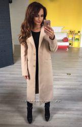 Пальто кашемир беж и черное норма и большие размеры