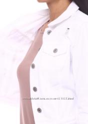 Великобритания белая джинсовая куртка укороченная короткая с потертостями