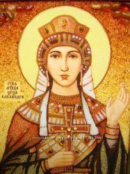 Александра именная икона из янтаря рукописная с цельными камнями янтаря