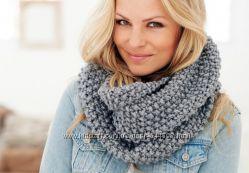 Теплый вязаный шарф снуд хомут