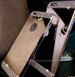 Зеркальные силиконовые чехлы со стразами для iphone 4 4S 5 5S 6 6S