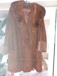 Замшевое натуральное пальто нубук