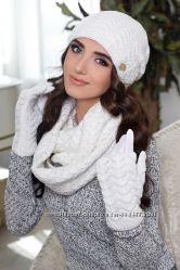 Комплект Франческа шапка, шарф-снуд и перчатки