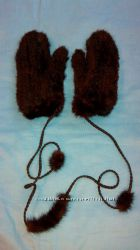 Кожаные перчатки, варежки на сильный мороз и норковые варежки