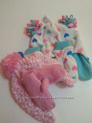 комплект шапка и варежки  зима