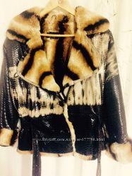 Продам кожаную зимнюю куртку мех кролика-рекс