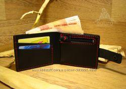 Кожаный кошелек с двумя отделами для купюр