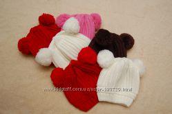 Теплые вязанные шапочки