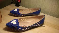Балетки летние туфли HUBERTO S. MULLER синие лаковые р 36, 5-37