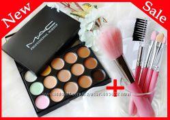 Акция Консилер корректор МАС палитра 15 цветов и Кисти для макияжа 5 шт