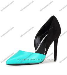 Летние туфли на шпильке. Черный с мятным.