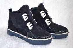 Стильные синие ботинки, кеды, сникерсы на липучках