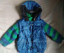 Куртка с вязаными рукавами р 80-86, Marks & Spencer