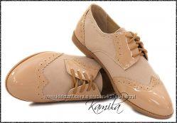 Стильные туфли аля штиблеты замш  лак беж