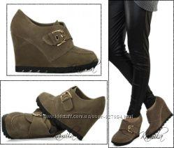 Модные ботильоны туфли замша стильная подошва