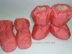 Сапожки и варежки на меху для малышей.