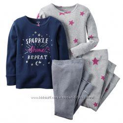 Набор 4вещи. Хлопковые, coton, пижамы Carters размеры 4 года и 7лет, слип