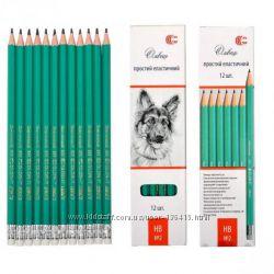 Простые карандаши, ластики, точилки - в наличии