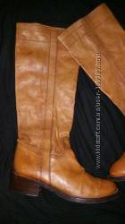 38 р- 25 см кожа эксклюзивные сапоги O Red Италия на невысокий подьем