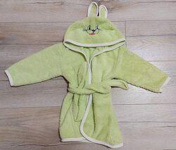 Махровый халатик Зайка для малышей - от 6 мес-2 года
