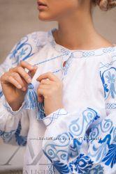 Бохо блуза с эксклюзивным авторским орнаментом, вышиванка