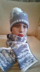 Шапка с шарфом зимний комплект