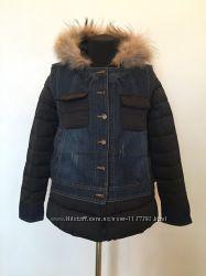 Демисезонная женская куртка с джинсовой жилеткой