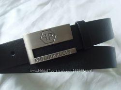 Модный черный кожаный ремень  PHILIPP PLEIN