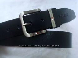 Стильный черный кожаный ремень TOMMY HILFIGER