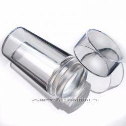 Штамп для стемпинга прозрачный круглый силиконовый с крышечкой.