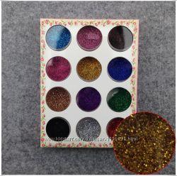 Сухой блеск акриловая пудра . Декор для ногтей. 12 различных цветов.