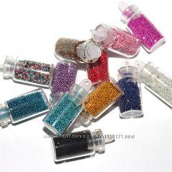 Бульонки. Дизайн ногтей с бульонками. 12 различных цветов в баночках.