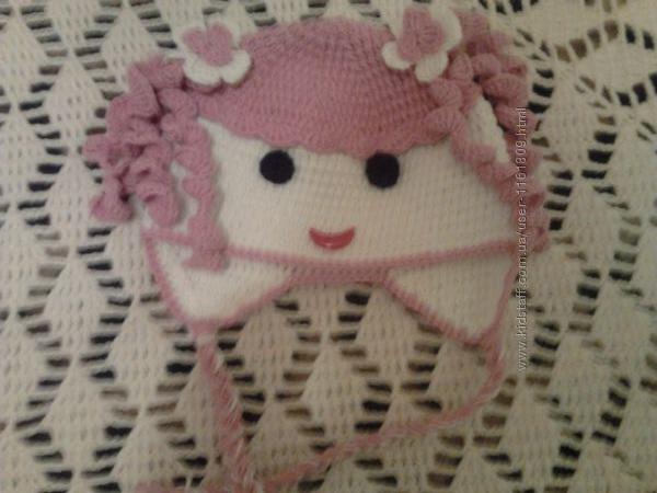Распродажа детских вязаных  шапок ручной работы.