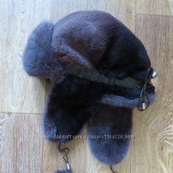 Норковая шапка-ушанка, объем 52-54