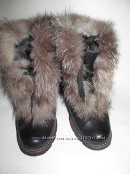 Ботинки зимние с мехом чернобурки