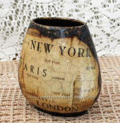 Декоративная вазочка для любителя путешествий, ручная работа