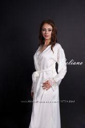 Женский шелковый халат, халат из шелка длинный кремового цвета с кружевом