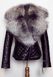 Куртка косуха стеганая из натуральной кожи с воротником из чернобурки