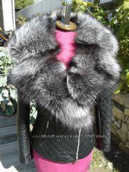 Куртка косуха стеганная из натуральной кожи и натуральным мехом чернобурки