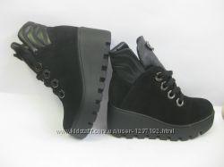 женские осенние зимние ботинки из натурального замша