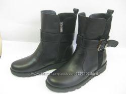женские осенние зимние ботинки-ботильоны из натуральной кожи и замша