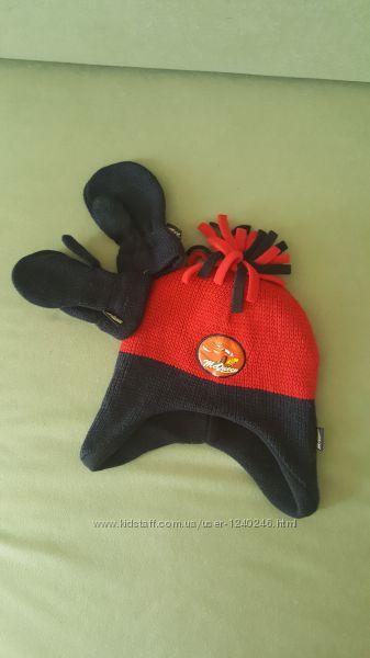 Шапка для мальчика Disney McQueen красно-черная с рукавичками