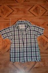 стильная рубашка в клеточку с коротким рукавом