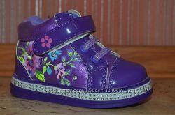 Деми ботинки на флисе для малышек, стелька кожа с супинатором