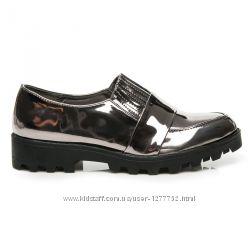 Женские зеркальные туфли на низком ходу черные, металлик, серебро