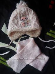 Комплект шапка  шарф розовые на девочку