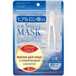 Japan gals японская маска с гиалуроновою кислотою pure5 essential 7 шт