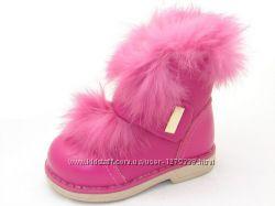 Зимние кожанные, ортопедические ботиночки для девочки