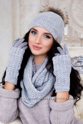 Зимний женский комплект Аризона шапка, шарф восьмерка и перчатки